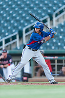 AZL Rangers left fielder Fernando Valdez (46) at bat during an Arizona League playoff game against the AZL Indians 1 at Goodyear Ballpark on August 28, 2018 in Goodyear, Arizona. The AZL Rangers defeated the AZL Indians 1 7-4. (Zachary Lucy/Four Seam Images)