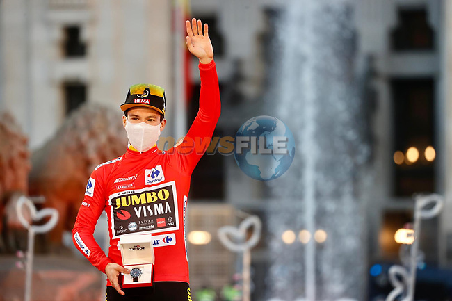 Primoz Roglic (SLO) Team Jumbo-Visma wins the overall general classification Red Jersey at the end of Stage 18 of the Vuelta Espana 2020, running 139.6km from Hipódromo de La Zarzuela to Madrid, Spain. 8th November 2020. <br /> Picture: Luis Angel Gomez/PhotoSportGomez | Cyclefile<br /> <br /> All photos usage must carry mandatory copyright credit (© Cyclefile | Luis Angel Gomez/PhotoSportGomez)