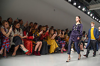 Rosie Fortescue, Georgia May Foote, Charlotte De Carle, Ella Eyre and Zara Martin<br /> at the Teatum Jones AW17 show as part of London Fashion Week AW17 at 180 Strand, London.<br /> <br /> <br /> ©Ash Knotek  D3230  17/02/2017