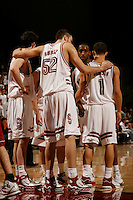 29 January 2006: Matt Haryasz, Tim Morris, and Mitch Johnson during Stanford's 76-67 overtime win over the #9 Washington Huskies at Maples Pavilion in Stanford, CA.