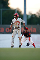 Auburn Doubledays center fielder Armond Upshaw (8) leads off second base in front of shortstop Marcos Rivera during a game against the Batavia Muckdogs on June 19, 2017 at Dwyer Stadium in Batavia, New York.  Batavia defeated Auburn 8-2 in both teams opening game of the season.  (Mike Janes/Four Seam Images)