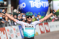 23rd April 2021; Cycling Tour des Alpes Stage 5, Valle del Chiese to Riva del Garda,  Italy on 23rd; Felix Grossschartner Bora-Hansgrohe wins stage 5 at the finish line and celebrates