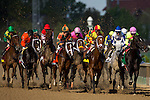 MAY 1, 2015: The field passes the grandstands for the first time during the 141st running of the Kentucky Oaks at Churchill Downs in Louisville, Kentucky. Jon Durr/ESW/CSM