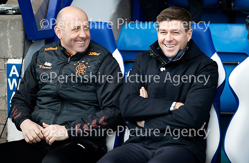 St Johnstone v Rangers…..23.02.20   McDiarmid Park   SPFL<br />Gary McAllister and Steven Gerrard share a laugh before kick off<br />Picture by Graeme Hart.<br />Copyright Perthshire Picture Agency<br />Tel: 01738 623350  Mobile: 07990 594431