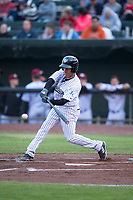 Idaho Falls Chukars shortstop Offerman Collado (0) swings at a pitch during a Pioneer League game against the Billings Mustangs at Melaleuca Field on August 22, 2018 in Idaho Falls, Idaho. The Idaho Falls Chukars defeated the Billings Mustangs by a score of 5-3. (Zachary Lucy/Four Seam Images)