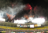 Fireworks during a 2010 World Cup qualifying match in the CONCACAF region between the USA and Costa Rica at RFK Stadium on October 14 2009, in Washington D.C.The match ended in a 2-2 tie.