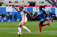 Harrison, NJ - Sunday March 04, 2018: Casey Short, Viviane Asseyi during a 2018 SheBelieves Cup match match between the women's national teams of the United States (USA) and France (FRA) at Red Bull Arena.