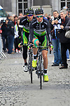 Simon Clarke and Wesley Sulzberger (AUS) GreenEdge Cycling Team makes their way to sign on before the start of the 98th edition of Liege-Bastogne-Liege outside the Palais des Princes-Eveques, running 257.5km from Liege to Ans, Belgium. 22nd April 2012.  <br /> (Photo by Eoin Clarke/NEWSFILE).