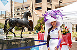 DEL MAR, CA  JULY 16:Lady posing with BC statue. <br /> (Photo by Casey Phillips/ Eclipse Sportswire/ CSM)day posing with BC statue