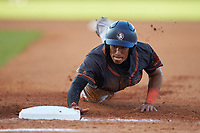Edwin Arroyo (10) of Arecibo Baseball Academy in Arecibo, PR playing for the San Francisco Giants scout team dives back towards first base during the East Coast Pro Showcase at the Hoover Met Complex on August 4, 2020 in Hoover, AL. (Brian Westerholt/Four Seam Images)