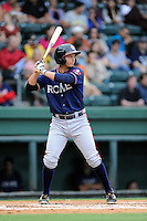 Second baseman Ross Wilson (16) of the Rome Braves bats in a game against the Greenville Drive on Friday, August 1, 2014, at Fluor Field at the West End in Greenville, South Carolina. Rome won, 5-1. (Tom Priddy/Four Seam Images)