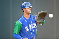 Catcher M.J. Melendez (7) of the Lexington Legends warms up before a game against the Greenville Drive on Saturday, September 1, 2018, at Fluor Field at the West End in Greenville, South Carolina. Greenville won, 9-6. (Tom Priddy/Four Seam Images)