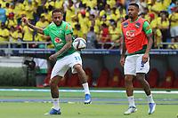 BARRANQUILLA – COLOMBIA, 10-10-2021:  Neymar, Gabriel Jesus de Brasil durante partido entre los seleccionados de Colombia (COL) y Brasil (BRA), de la fecha 12 por la clasificatoria a la Copa Mundo FIFA Catar 2022, jugado en el estadio Metropolitano Roberto Melendez en Barranquilla. / Neymar, Gabriel Jesus of Brazil during match between the teams of Colombia (COL) and Brasil(BRA), of the 12th date for the FIFA World Cup Qatar 2022 Qualifier, played at Metropolitan stadium Roberto Melendez in Barranquilla. Photo: VizzorImage / Jairo Cassiani / Contribuidor
