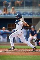 Charlotte Stone Crabs Zach Rutherford (15) bats during a Florida State League game against the Palm Beach Cardinals on April 14, 2019 at Charlotte Sports Park in Port Charlotte, Florida.  Palm Beach defeated Charlotte 5-3.  (Mike Janes/Four Seam Images)