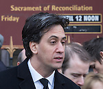 © Joel Goodman - 07973 332324 . 16/01/2014 . Salford , UK . ED MILIBAND MP , the leader of the Labour Party and MP for Doncaster North , after the service . The funeral of Labour MP Paul Goggins at Salford Cathedral today (Thursday 16th January 2014) . The MP for Wythenshawe and Sale East died aged 60 on 7th January 2014 after collapsing whilst out running on 30th December 2013 . Photo credit : Joel Goodman