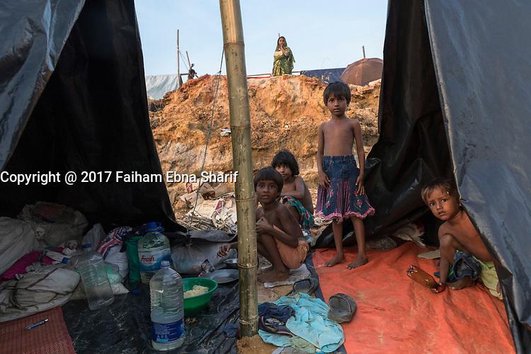 Rohingyas refugees from Myanmar arrive into Bengladesh, September 17, 2017.<br /> <br /> PHOTO :   Faiham Ebna Sharif - <br />  Agence Quebec Presse