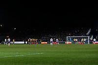 Harry Kane of Tottenham Hotspur takes a free kick that goes over the cross bar during the Fly Emirates FA Cup Fourth Round match between Newport County and Tottenham Hotspur at Rodney Parade, Newport, Wales, UK. Saturday 27 January 2018