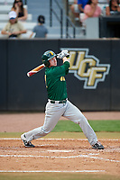 Siena Saints pinch hitter Zach Durfee (2) follows through on a swing during a game against the UCF Knights on February 17, 2019 at John Euliano Park in Orlando, Florida.  UCF defeated Siena 7-1.  (Mike Janes/Four Seam Images)