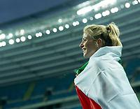 2nd May 2021; Silesian Stadium, Chorzow, Poland; World Athletics Relays 2021. Day 2; Italian athlete Anna Bongiorni wrapped in national flag as she celebrates winning the women's 4 x 100