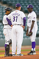 Winston-Salem Dash pitching coach Bobby Thigpen #37 has a chat with Nevin Griffith #23 and catcher Luis Sierra #7 at  BB&T Ballpark April 28, 2010, in Winston-Salem, North Carolina.  Photo by Brian Westerholt / Four Seam Images