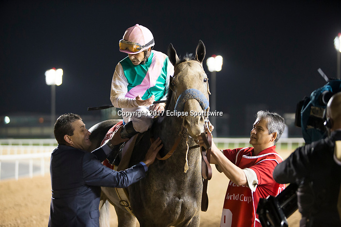 DUBAI,UNITED ARAB EMIRATES-MARCH 25: Arrogate,ridden by Mike Smith, after winning the Dubai World Cup at Meydan Racecourse on March 25,2017 in Dubai,United Arab Emirates (Photo by Kaz Ishida/Eclipse Sportswire/Getty Images)