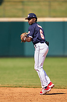 Second baseman Kahlil Watson (6) throws to first base during the Baseball Factory All-Star Classic at Dr. Pepper Ballpark on October 4, 2020 in Frisco, Texas.  Kahlil Watson (6), a resident of Wake Forest, North Carolina, attends Wake Forest High School.  (Ken Murphy/Four Seam Images)