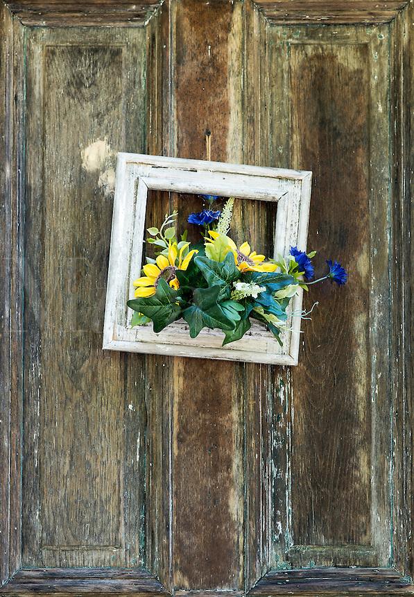 Rustic door with decoration.