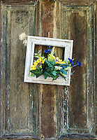Rustic door with decoration.