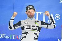 23rd May; 2021 Giro D Italia stage 15, Grado to Gorizia;  Qhubeka - Campenaerts, Victor takes the stage trophy on podium in  Gorizia