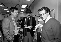 December 19, 1987 File Photo - Montreal, Quebec, CANADA -  Robert Bourassa, Quebec Premier attend Sun Youth fundraiser pasta supper.<br /> <br /> In photo : Nick Auf Der Maur (M), Jacques Chagnon and his baby (R) and  Robert Bourassa, (L)