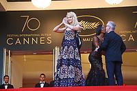Nicole Kidman et Thierry FREMEAUX avec Naomi CAMPBELL sur le tapis rouge pour la soirée dans le cadre de la journée anniversaire de la 70e édition du Festival du Film à Cannes, Palais des Festivals et des Congres, Cannes, Sud de la France, mardi 23 mai 2017.