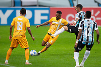 2nd June 2021; Arena do Gremio, Porto Alegre, Brazil; Copa Do Brazil, Gremio versus Brasiliense; Jhonata Robert of Gremio tries to block the shot from Lídio of Brasiliense
