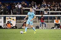 SAN JOSE, CA - AUGUST 17: Brent Kallman #14 of Minnesota United dribbles the ball during a game between San Jose Earthquakes and Minnesota United FC at PayPal Park on August 17, 2021 in San Jose, California.