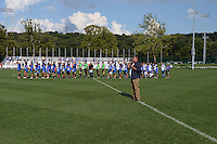Kansas City, MO - Sunday August 28, 2016: National anthem prior to a regular season National Women's Soccer League (NWSL) match between FC Kansas City and the Boston Breakers at Swope Soccer Village.