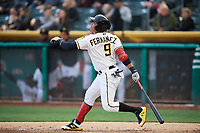 Jose Miguel Fernandez (9) of the Salt Lake Bees bats against the Albuquerque Isotopes at Smith's Ballpark on April 5, 2018 in Salt Lake City, Utah. Salt Lake defeated Albuquerque 9-3. (Stephen Smith/Four Seam Images)
