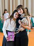Natalia de Molina with her dog Hugo and Andrea Fandos (l) during 'Las Ninas' filming. August 2, 2019. (ALTERPHOTOS/Francis González)