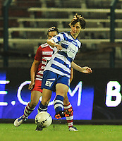 20130913 - ANTWERPEN , BELGIUM : Gent's Evelien Van Sinay pictured during the female soccer match between Royal Antwerp FC Vrouwen / Ladies and K AA Gent Ladies at the BOSUIL STADIUM , of the fourth matchday in the BENELEAGUE competition. Friday 13 September 2013. PHOTO DAVID CATRY