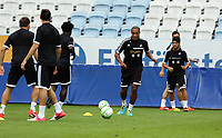 Wednesday 07 August 2013<br /> Pictured: Ashley Williams with the ball training with team mates at the Malmo FF Stadium, Sweden.<br /> Re: Swansea City FC travelling to Sweden for their Europa League 3rd Qualifying Round, Second Leg game against Malmo.
