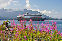 Fireweed, Holland America cruise ship anchored in Sitka Sound, at the coastal community of Sitka, located on Baranof Island in the southeast Alaska panhandle.