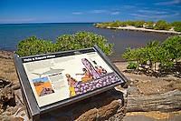 An informational sign regarding Hale o Kapuni Heiau, or the site of a submerged temple dedicated to the shark gods, Pu'ukohola Heiau National Historic Site, Kawaihae, Kohala, Big Island.