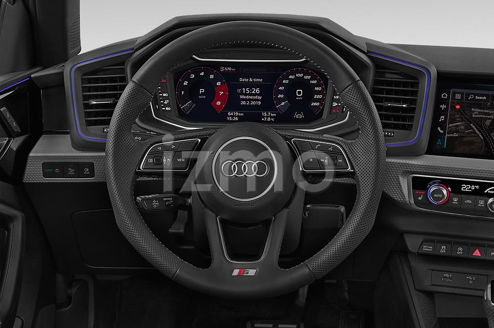 Steering wheel view of a 2019 Audi A1-Sportback S-Line 5 Door Hatchback Steering Wheel