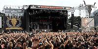 """WACKEN Open Air 2009 - WOA - 20. Metal Festival im kleinen Metal-Dorf Wacken (Schleswig-Holstein) - beinahe 80.000 Besucher kamen auf den lautesten Acker der Welt - nearly 80.000 metalheads visits the 20th WOA - in picture / im Bild: View to the Black Stage during the concert of """" In Exremo """" - Blick auf die Black Stage während des Konzerts von In Extremo. Bühnentotale. Foto: Christin Kersten."""