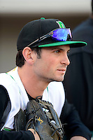 Dayton Dragons outfielder Beau Amaral #25 in the dugout before a game against the Bowling Green Hot Rods on April 20, 2013 at Fifth Third Field in Dayton, Ohio.  Dayton defeated Bowling Green 6-3.  (Mike Janes/Four Seam Images)
