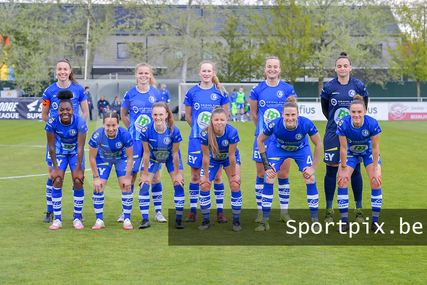 (Top row left to right) Silke Vanwynsberghe (21) of AA Gent, Lore Jacobs (17) of AA Gent, Feli Delacauw (44) of AA Gent, Lobke Loonen (19) of AA Gent, goalkeeper Nicky Evrard (1) of AA Gent (front row left to right) Lakeesha Eijken (7) of AA Gent, Rkia Mazrouai (2) of AA Gent Emma Van Britsom (6) of AA Gent, Lyndsey Van Belle (14) of AA Gent, Heleen Jaques (4) of AA Gent and Chloe Vande Velde (10) of AA Gent pose for the team photo before a female soccer game between AA Gent Ladies and Oud Heverlee Leuven on the fourth matchday of play off 1 in the 2020 - 2021 season of Belgian Scooore Womens Super League , saturday 1 st of May 2021  in Oostakker , Belgium . PHOTO SPORTPIX.BE | SPP | STIJN AUDOOREN