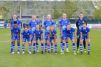(Top row left to right) Silke Vanwynsberghe (21) of AA Gent, Lore Jacobs (17) of AA Gent, Feli Delacauw (44) of AA Gent, Lobke Loonen (19) of AA Gent, goalkeeper Nicky Evrard (1) of AA Gent (front row left to right) Lakeesha Eijken (7) of AA Gent, Rkia Mazrouai (2) of AA Gent Emma Van Britsom (6) of AA Gent, Lyndsey Van Belle (14) of AA Gent, Heleen Jaques (4) of AA Gent and Chloe Vande Velde (10) of AA Gent pose for the team photo before a female soccer game between AA Gent Ladies and Oud Heverlee Leuven on the fourth matchday of play off 1 in the 2020 - 2021 season of Belgian Scooore Womens Super League , saturday 1 st of May 2021  in Oostakker , Belgium . PHOTO SPORTPIX.BE | SPP | STIJN AUDOOREN