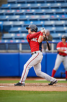 Potomac Nationals second baseman David Masters (8) follows through on a swing during the first game of a doubleheader against the Salem Red Sox on June 11, 2018 at Haley Toyota Field in Salem, Virginia.  Potomac defeated Salem 9-4.  (Mike Janes/Four Seam Images)
