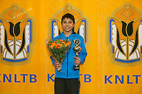 Rotterdam, The Netherlands, 15.03.2014. NOJK 14 and 18 years ,National Indoor Juniors Championships of 2014, Runner up boys14 years: Sidané Pontjodikromo<br /> Photo:Tennisimages/Henk Koster