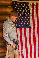 Cowboy and the American Flag Cowboys and cowgirls living the western lifestyle. Cowboy with American flag. Fine Art Limited Edition Photography Of American Cowboys and Cowgirls by Jess Lee
