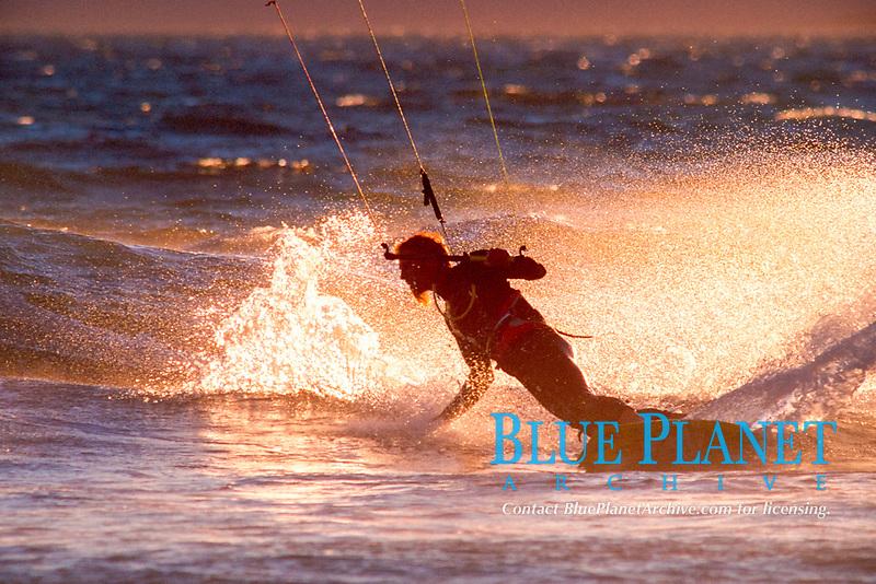 Peter Scheibel performs a bottom turn on a kiteboard, Waddell Creek, Big Basin Redwood State Park, north of Santa Cruz, California, East Pacific Ocean