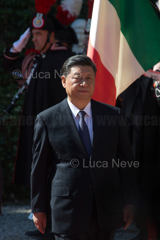 "Rome, 23/03/2019. The President of the People's Republic of China (General Secretary of the Communist Party of China, and Chairman of the Central Military Commission), Xi Jinping, meets the Italian Prime Minister Giuseppe Conte at Villa Madama during the second day of a three-day State visit to Italy. After the arrival of Xi Jinping greeted with the full honours at the splendid Renaissance Villa designed by Raffaello Sanzio, the Chinese delegation and the Italian delegation led by the Luigi Di Maio (Deputy Prime Minister, Minister of Economic development, Labour and Social Policies, and leader of the Five Star Movement) signed a memorandum of understanding - 29 separate protocols - supporting the ""Belt and Road"" initiative (part of the ""New Silk Road Project"") as the first of the Seven major economies in the world. Luigi Di Maio stated that ""the value of individual deals signed amounts to about 2,5 billion euros, with the potential to grow to about 20 billion euros""."